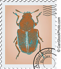 Vector stamp with a image of a beetle