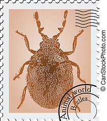Vector stamp with a picture of a insect