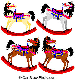 Four rocking ponies - Illustration of four rocking ponies...