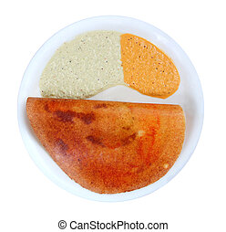 Masala dosa with different types of chutney