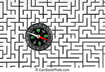 compass on background of the labyrinth - compass on the...