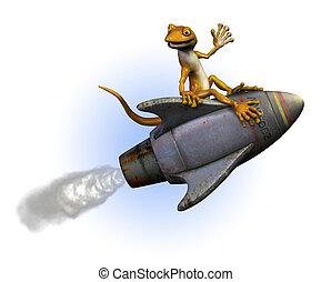 Rocket Gecko - Gecko riding a rocket -3D render.