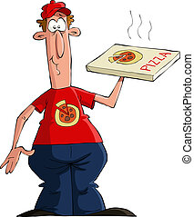 Pizza delivery man on a white background, vector
