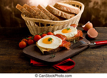 English Breakfast with Eggs and Bacon - conceptual photo of...