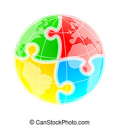 Puzzle world - Sketchy colorful globe under puzzle pattern