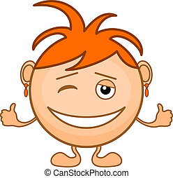 Smiley girl with orange hair grins, winks and shows sign...