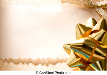 Decorated greeting card with a bow