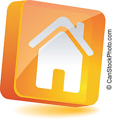 Home Icon. - Home 3d icon. Vector illustration.