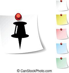 Drawing-pin icon. - Drawing-pin sheet icon. Vector...