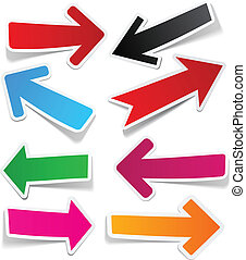 Color arrows sticker set - Sticky collection of paper arrows...