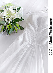 dress - close up view of nice white wedding dress and...