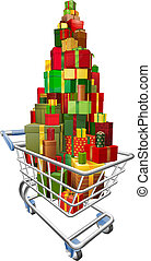 Shopping trolley cart with lots of gifts - A shopping...