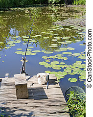 Place for fishing in a small rural pond A sunny summer day...