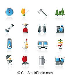 acampamento, Viagem, Turismo, ícones
