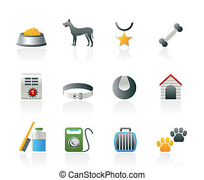dog accessory and symbols icons