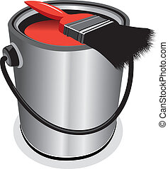 paint pot - red paint pot