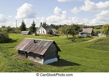Rural September landscape - Rural village simple European...