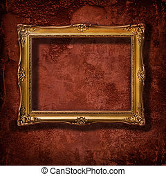 Vintage Golden Frame - Vintage golden frame on grunge...