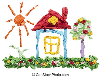 Paper sweet dream home concept - Sweet dream home isolated...
