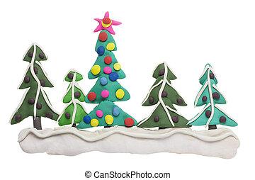 abete, bordo, Natale, albero
