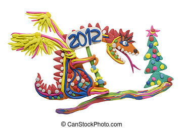 2012 - year of the red dragon concept collage from clay...
