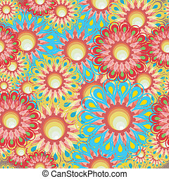 Seamless flower series - Floral and geometric patterns...