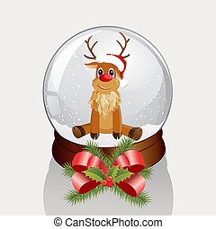 snow dome - vector illustration of a little reindeer in a...