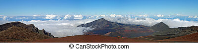 Above the clouds - Panorama view from Haleakala volcano,...