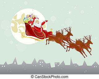 christmas card - vector illustration of santas sleigh in the...