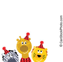 Cute safari christmas animals isolated on white background
