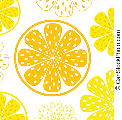 Lemon slices pattern or background - yellow and white -...