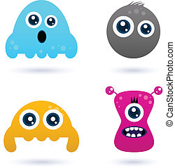 Funny curious monster set isolated on white - Cute monster...