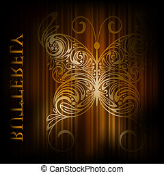 vector background with butterfly and stripes - eps 10,...