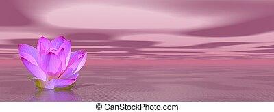 Lily flower in violet ocean - Violet lily flower in ocean to...