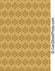 Flower wall-paper - Brown flower wall-paper without a seam...