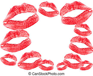 red lips print - valentine card with lips print