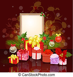 Christmas ornament frame with gifts