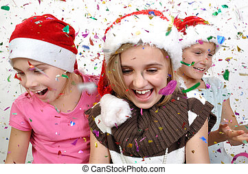 children celebrating Christmas
