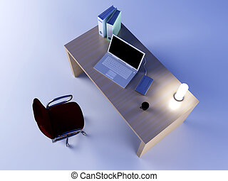 Workplace - A office workplace. 3D rendered Illustration.