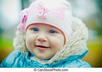 Little Baby Girl - little smiling baby girl with blue eyes,...