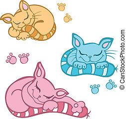 sleeping cat - Vector sleeping kittens isolated on white...