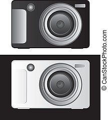 camera vector - black and white digital camera. vector...