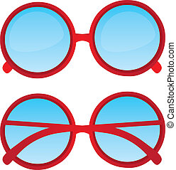 red nerd glasses - red circle nerd glasses over white...