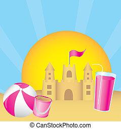 sandcastle over summer landscape. vector illustration