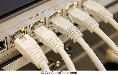 red, cables, conectado, interruptor
