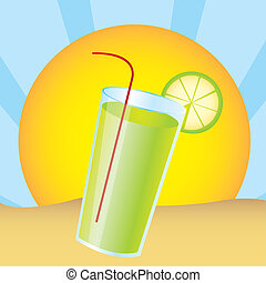 lemonade juice over landscape desert. vector illustration
