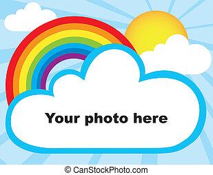 Rainbow photoframe - Sun, rainbow and cloud photoframe...