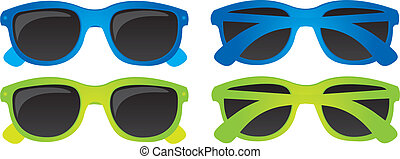 Sunglasses vector - Blue green sunglasses isolated over...