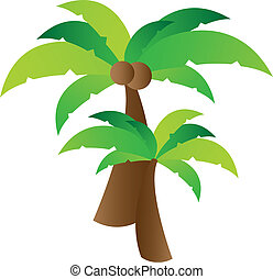 Palm tree vector - Coconut palm tree illustration over white...