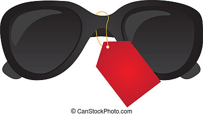Black sunglasses vector - black sunglasses tagged isolated...